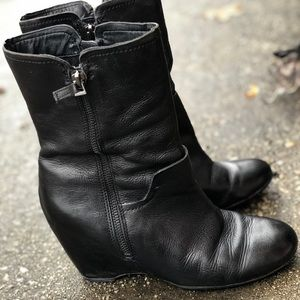 Perfect leather wedge booties
